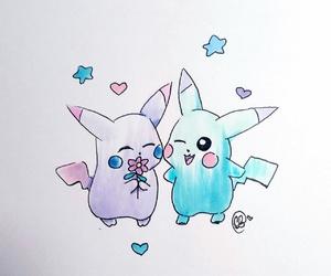 art, drawing, and pikachu image