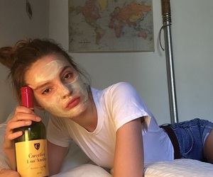 girl, aesthetic, and wine image