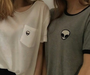 girl, alien, and friends image