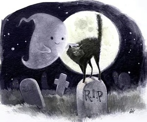 cat, spirit, and ghost image