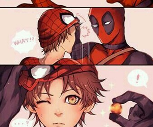 cute boy, spiderman, and art drawing image