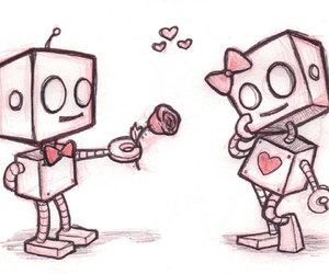 love, robot, and drawing image