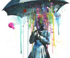 art, rain, and umbrella image