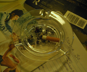 ashtray, cigarette, and smoke image
