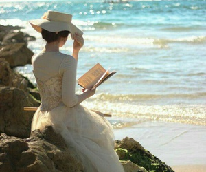 book, sea, and reading image