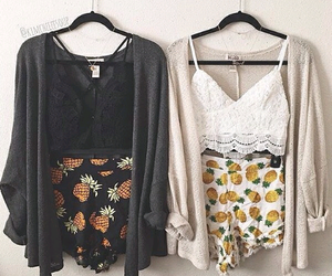 cardigan, fashion, and pineapple image