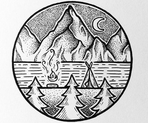 camp fire, black tattoo, and circle tattoo image