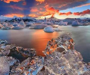 ice, sunset, and iceland image