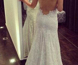 lace wedding dress, sweetheart neckline, and petites image