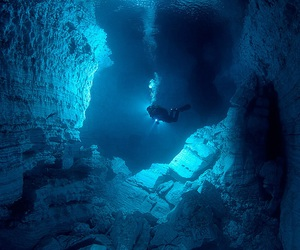 diving, underwater, and blue image