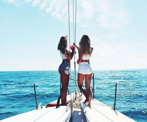 friends, girls, and sea image