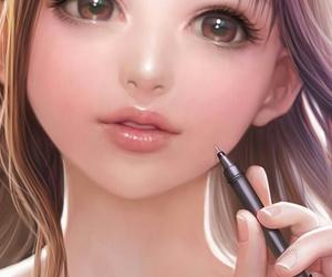 illustration, beautiful, and girl image