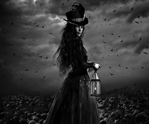 black, goth, and hat image