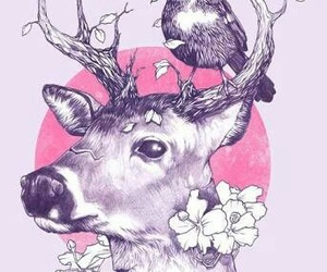 art, bird, and deer image