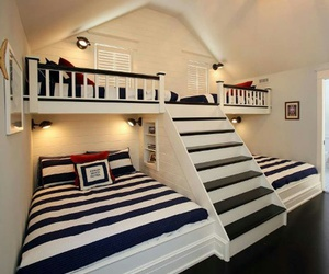 bed, stripes, and bedroom image