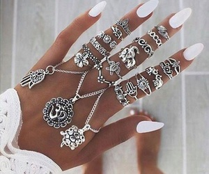 nails, white, and rings image
