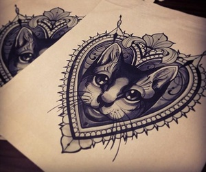 tattoo, cat, and drawing image