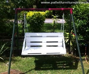 swing, garden swing, and pallet swing image