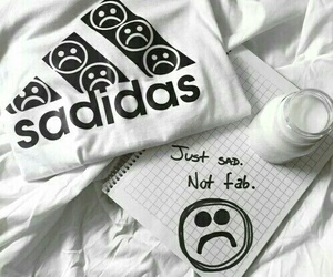 adidas, sad, and white image