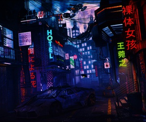 city and cyberpunk image
