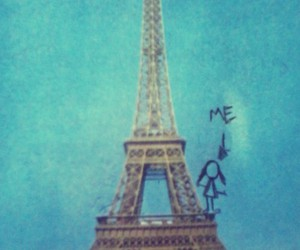 blue, drawing, and eiffel tower image