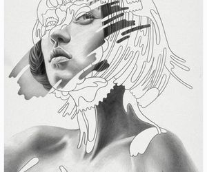 art, black and white, and portrait image