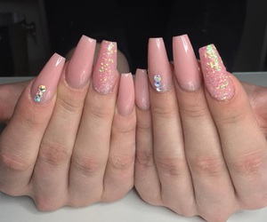 nails, peach, and pink image