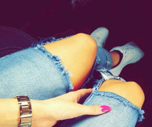 gold, pink nails, and jeans image