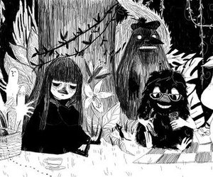 art, black and white, and moomin image