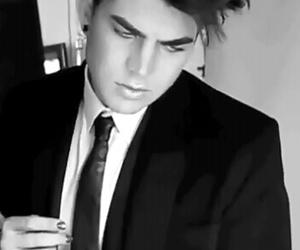 adam lambert, black and white, and photo image