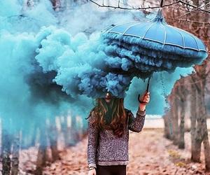 blue, umbrella, and autumn image