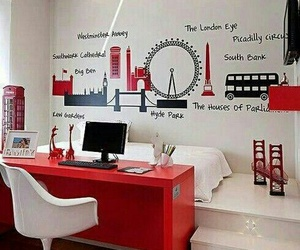 london, room, and red image