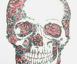 skull, flowers, and wallpaper image