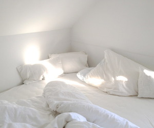 bed, decor, and white bed image