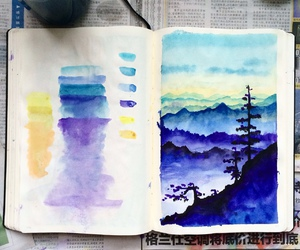 art, paint, and watercolor art image