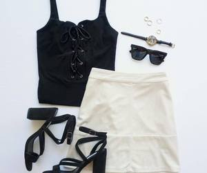 skirt, black, and outfit image