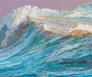 art, waves, and ocean image