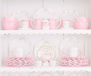 dishes, pink, and cute image