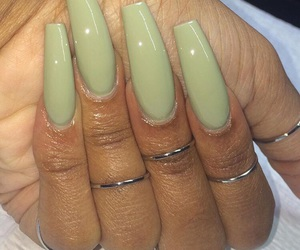 green nails, jewelry, and long nails image