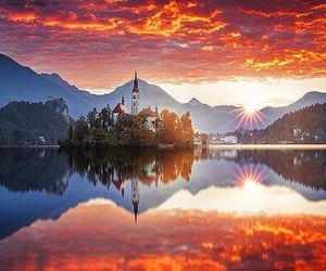 sunset and slovenia image