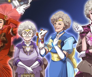 golden girls, sailor moon, and mashup art image