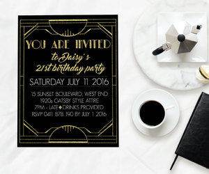 prohibition, custom invitation, and great gatsby party image