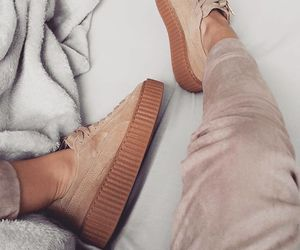 rihanna, suede, and sneakers image