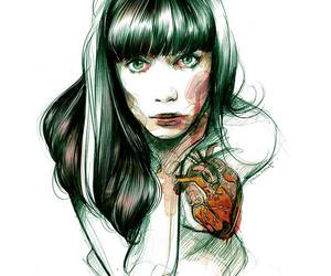 girl, illustration, and draw image