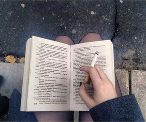 book, cigarette, and grunge image