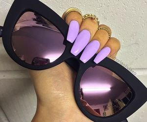 nails, makeup, and sunglasses image