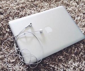 apple, macbook, and earphones image