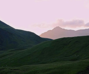 green, mountains, and pink image