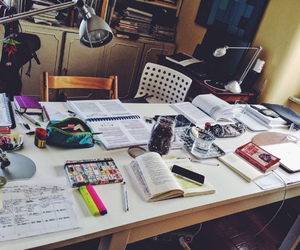 study, books, and pen image