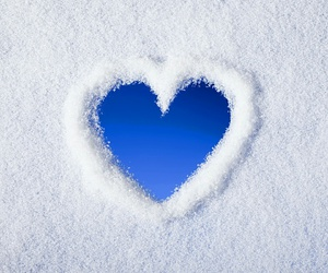 heart, snow, and blue image